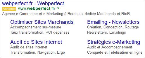 Extensions d'annonces Webperfect