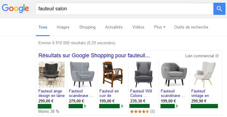 Exemple Google Shopping